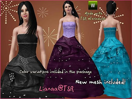 Sims 3 Updates The Sims Resource Strapless Ball Gown With Rhinestones By Lianaa At Tsr